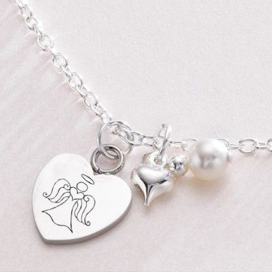 Engraved Heart Necklace with Crystal Bail | Someone Remembered